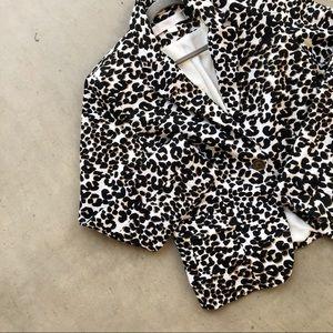 BOSTON PROPER Leopard Animal Print Blazer Jacket
